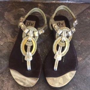 LN Dolce Vita Gold Braided Thong Sandals 6